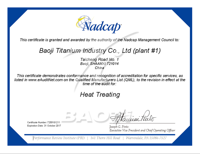 NADCAP heat treating certification