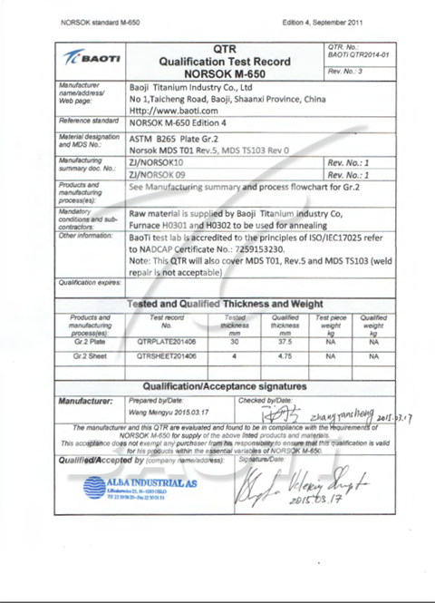 NORSOK certification about GR.2 plate & sheet